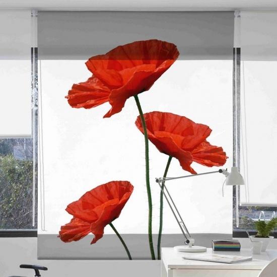 Estor enrollable floral 1044 Amapolas - Zebra Textil